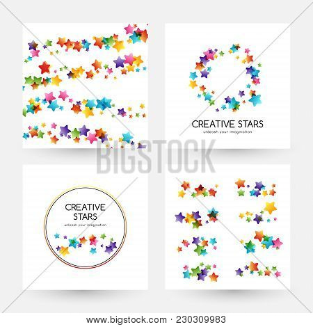 Creative Kids Design Collection. Vector Banners With Colorful Stars, Decoration Elements. Dividers,