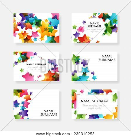 Creative Kids Design Collection. Vector Cards With Colorful Stars,  Decoration Elements. Business Ca