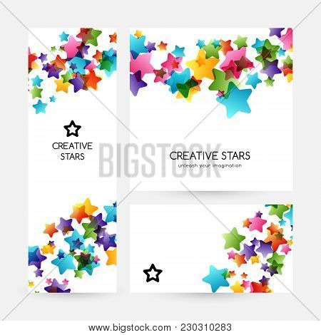 Creative Kids Design Collection. Vector Cards With Colorful Stars,  Decoration Elements. Banners Col