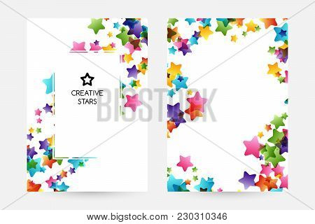Creative Kids Design Collection. Vector Cards With Colorful Stars,  Decoration Elements. Vertical Po