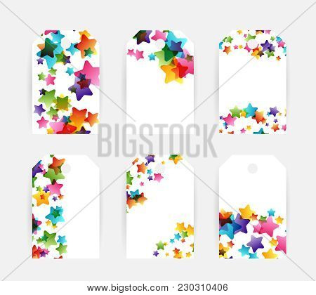 Creative Kids Design Collection. Vector Cards With Colorful Stars,  Decoration Elements. Labels And