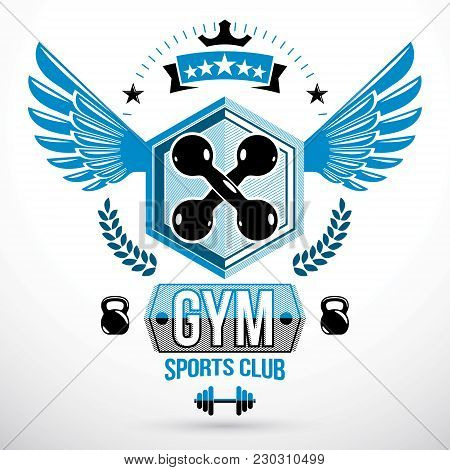Vector Winged Graphic Sign Created With Dumbbells Crossed And Kettle Bells Sport Equipment. Fitness