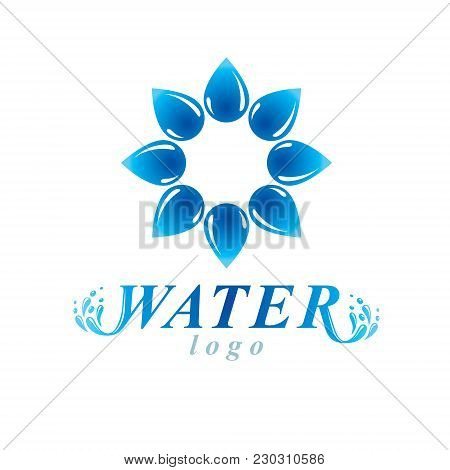 Global Water Circulation Vector Logotype For Use In Spa And Resort Organizations. Alternative Medici