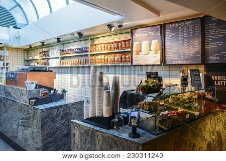 London, Uk - March 8, 2018: Empty Starbucks Coffee House In High Street Kensington, London, Uk With
