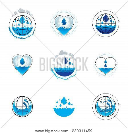 Wave Splash Vector Logotype. World Water Day Theme. Human And Nature Harmony Concept.
