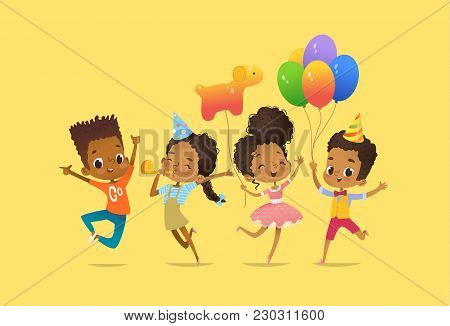 Joyous African-american Boys And Girls With The Balloons And Birthday Hats Happily Jumping With Thei