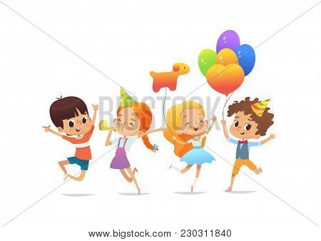 Happy School Children With The Balloons And Birthday Hats Joyfully Jumping With Their Hands Up Again