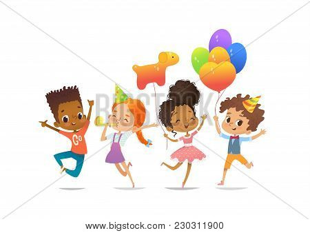 Excited Multiracial Boys And Girls With The Balloons And Birthday Hats Happily Jumping With Their Ha