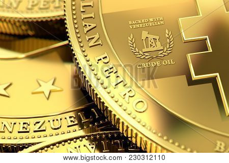Close Up Shot On Venezuelan Petro Cryptocurrency Concept Coins. Backed With Crude Oil Sign Close Up,