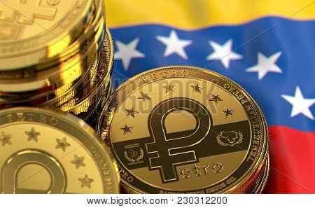 Stack Of Petro Concept Coins On Venezuelan Flag. Situation Of Petro The Cryptocurrency Of Venezuela