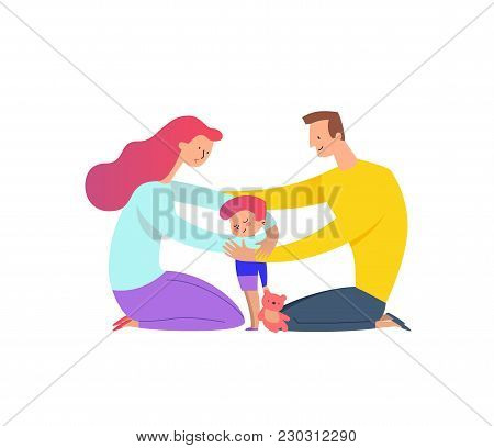 Mother and father cuddling with their son. Parents hugging their kid boy holding teddy bear. Concept of family love and support. Cartoon characters isolated on white background. Vector illustration. poster