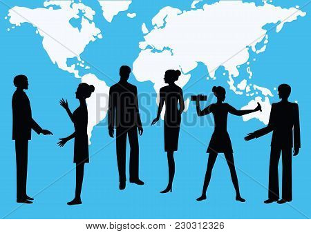 Silhouettes Of Men And Women - Colleagues, Co-workers, Against The Background Of The World Map - Blu