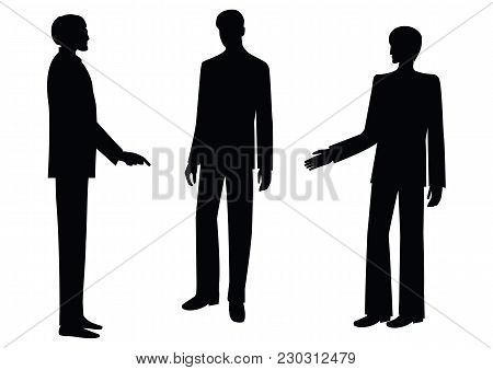 Silhouettes Of Men - Colleagues, Co-workers, Boss And Subordinates, Isolated On White Background, -