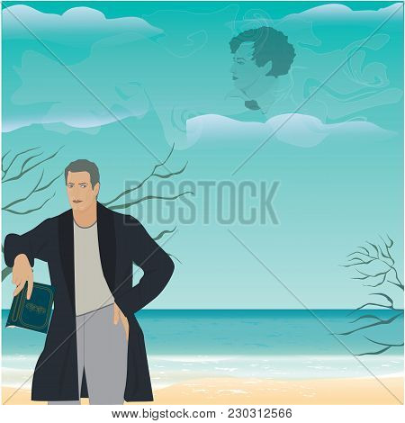 Man With Book In Hand On Background Of Sea Landscape - Clouds And Poetry Image Of Poet, Art, Creativ