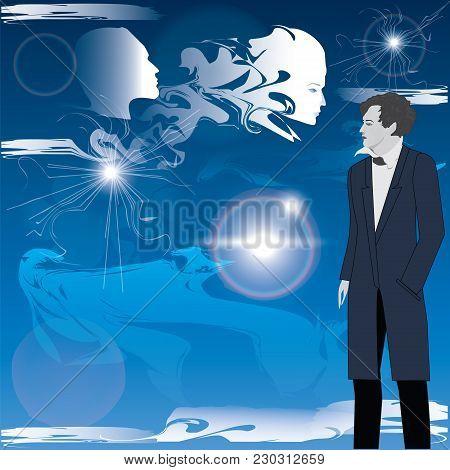 Modern Man, Philosopher, Mystic, Poet, Against The Blue Sky, Clouds, Manifestation Of Spiritual Esse