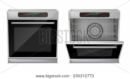 Vector 3d Realistic Compact Oven With Touch Menu, With Pre-set Cooking Programs, With Open And Close