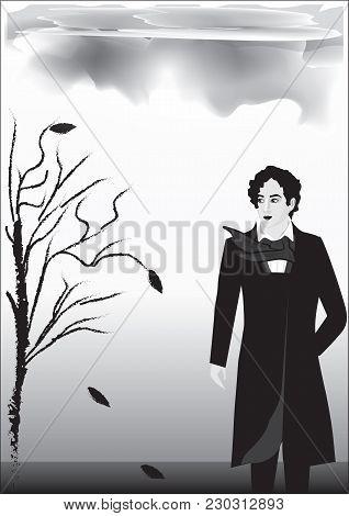 Rainy Autumn Landscape, Male, Romantic, Nineteenth Century, Byron, Poet, - Black On White Background