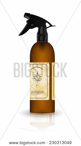 Realistic Brown Bottle For Cosmetic Cream Container.  Tube For Ointment, Lotion, Balsam. Mock Up Bot