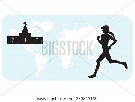 Athlete Runs Silhouette Of Woman On World Map Background, Pedestal, Winner's Cup - White Background,