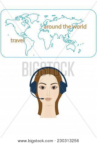 Head Of The Woman In Headphones On The Background Of The Atlas Of The World - The Art Of Creative Mo