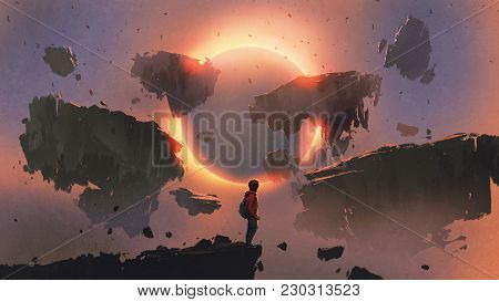 Boy Standing On The Edge Of The Cliff Looking At Eclipse And Rocks Floating In The Sky, Digital Art
