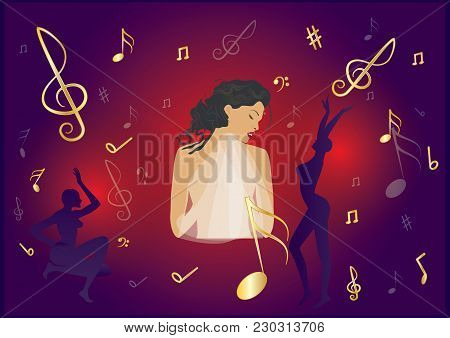 Music Banner. Sensual, Emotional Woman Singing On A Bright Illuminated Scene Red And Purple Backgrou
