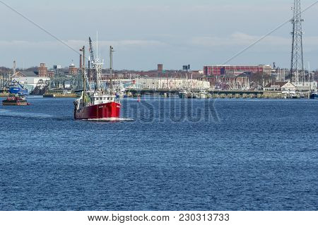 New Bedford, Massachusetts, Usa - March 9, 2018: Trawler Mary K, Hailing Port Woods Hole, Massachuse