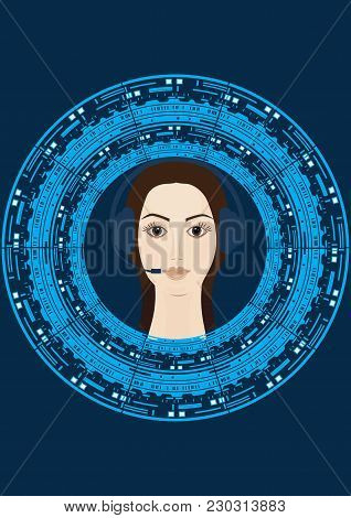 Woman In Headphones On A Background Of The Symbol Of Innovation And Technology - Art Creative Modern
