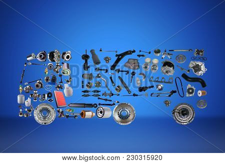 Images Truck Assembled From New Spare Parts On Blue Background. Truck With A Trailer And With Cargo