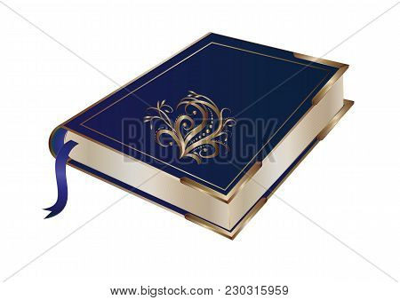 Book, Gold Tracery Decoration, Metal Corners, Isolated On White Background, Art Creative Modern Vect