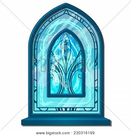 Icy Window In Oriental Style Isolated On White Background. Vector Cartoon Close-up Illustration.