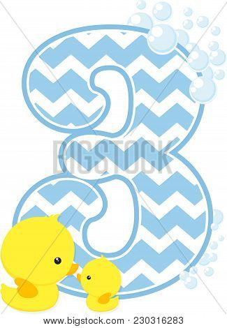 Number 3 With Bubbles And Little Baby Rubber Duck Isolated On White Background. Can Be Used For Baby