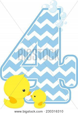 Number 4 With Bubbles And Little Baby Rubber Duck Isolated On White Background. Can Be Used For Baby