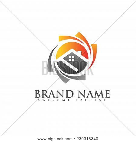Solar On House And Sun Logo Template, Save Energy Green Power And Natural Electricity Solar Batteray