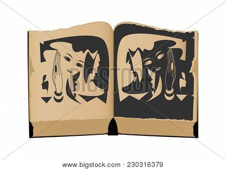 Ancient Book With An Illustration Of A Female Image, Face, Mask, Isolated On A White Background, Art