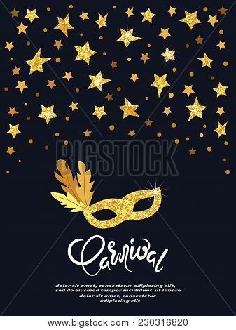 Carnival Vector Poster With Golden Mask And Stars. Festival Design.