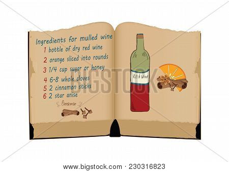 Old Book, Recipe Ingredients Christmas Spices For Mulled Wine Handmade Isolated, White Background, A