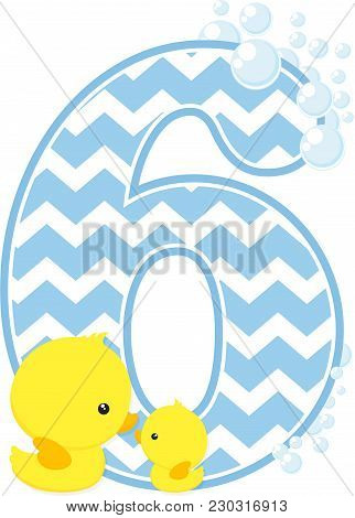 Number 6 With Bubbles And Little Baby Rubber Duck Isolated On White Background. Can Be Used For Baby