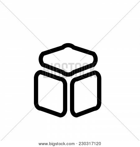 Cube Vector Icon On White Background. Cube Modern Icon For Graphic And Web Design. Cube Icon Sign Fo