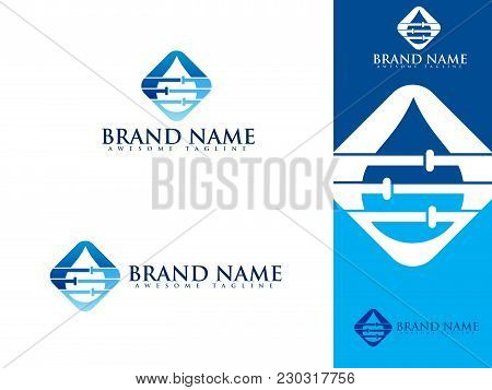 Plumbing Service Logo Set With Water And Pipe Front View For Used Plumbing And Heating Company, Sani
