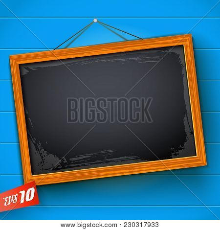 Blank Chalkboard Hanging On Rope With Wooden Frame On Blue Background With Horizontal Planks Vector