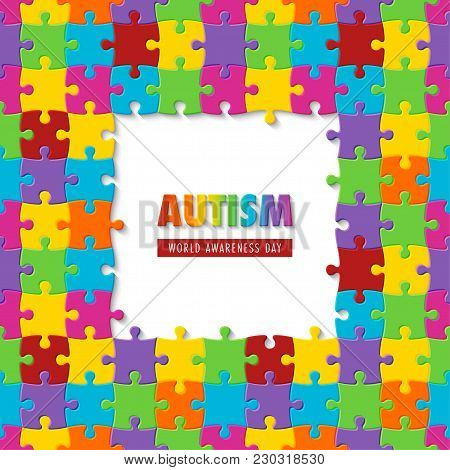 World Autism Awareness Day. Colorful Puzzle Background. Symbol Of Autism. Vector Illustration