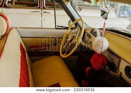Interior Of Old  Car From White Leather