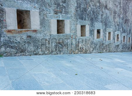 Series Of Slits Of An Ancient Castle  / The Slits Were Openings In The Wall Of The Fortress To Spy O