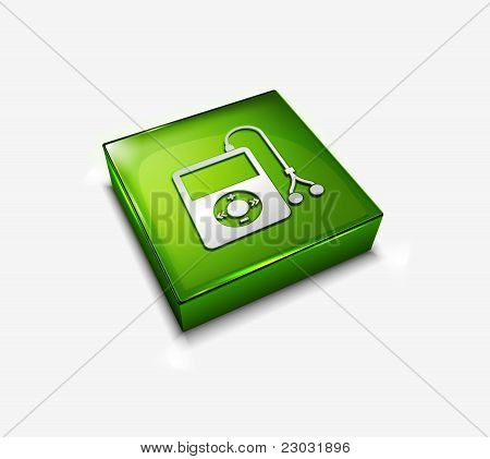 3d icon of a stylish musical player vector element. poster