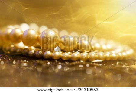 Birthday Gift For Women - Beautiful Gold Pearls Jewelry Necklace Close-up