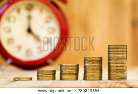 Business Success Concept - Web Banner Of Gold Money Coins And A Red Alarm Clock With Blank, Copy Spa