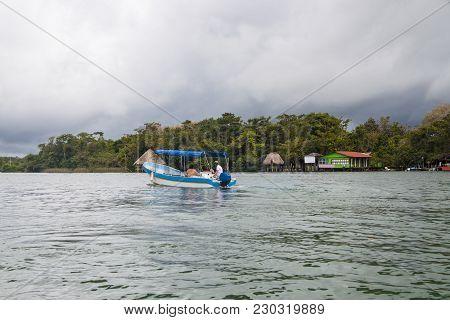 Motor Boat In Rio Dulce  Guatemala