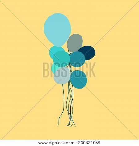 Blue And Gray Balloons On A Yellow Background. Vector Illustration