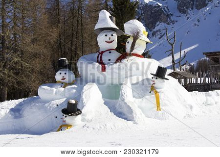 The Big Snowmens At The Sexten Ski Resort In Italy